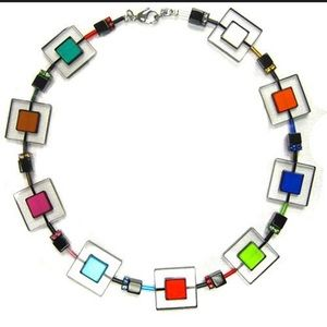Jewelry - Modern Art Lucite and Crystal Designer NecklaceNWT